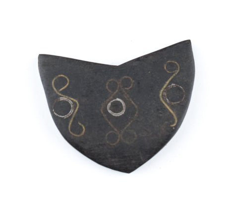 Inlaid Ebony Tuareg Shield Pendant - The Bead Chest