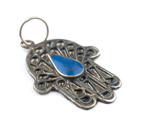 Blue Inlay Silver Moroccan Hamsa Pendant - The Bead Chest