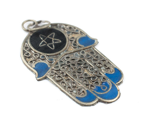 Blue Moroccan Star Silver Hamsa Pendant - The Bead Chest