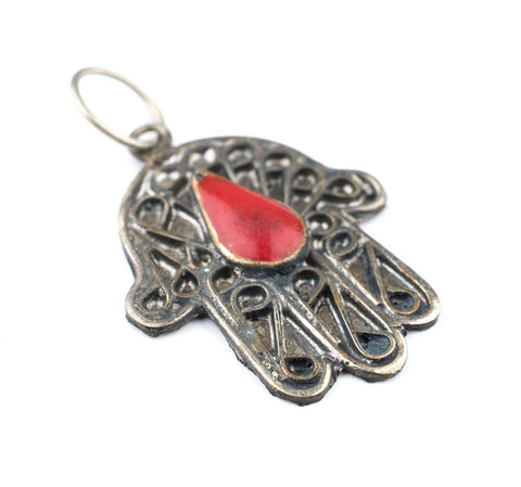 Red Inlay Silver Moroccan Hamsa Pendant - The Bead Chest