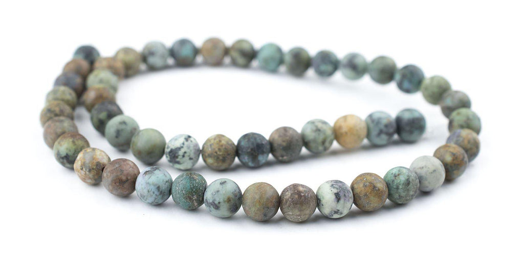 Round Matte African Turquoise Beads (8mm) - The Bead Chest