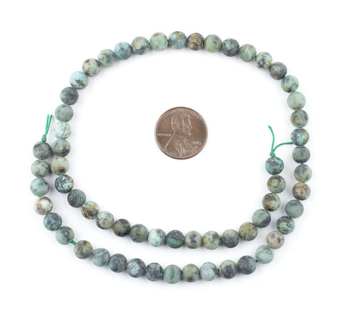 Round Matte African Turquoise Beads (6mm) - The Bead Chest