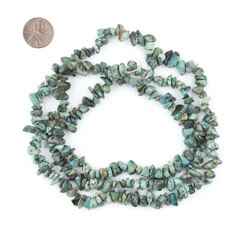 Image of African Turquoise Chip Beads (Long Strand) - The Bead Chest
