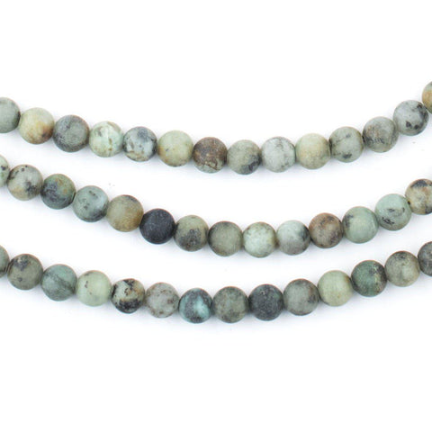 Round Matte African Turquoise Beads (4mm) - The Bead Chest