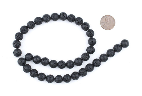Charcoal Black Volcanic Stone Beads (10mm)