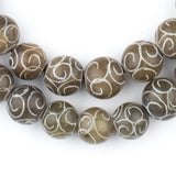 Geometric Patterned Jade Beads (12mm)