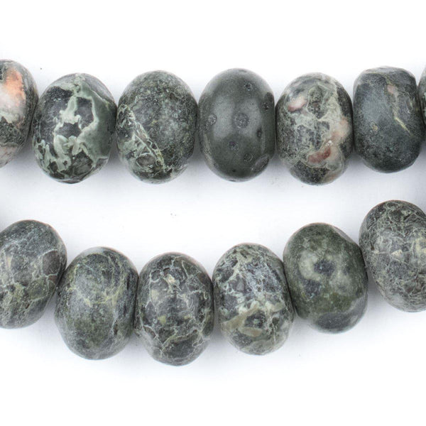 Green Rondelle Frog Jasper Beads (10x14mm) - The Bead Chest