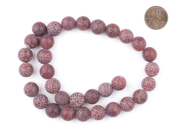 Round Red Crackled Agate Beads (12mm)