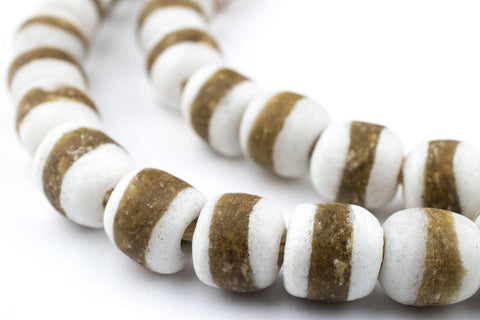 White Kente Krobo Beads - The Bead Chest