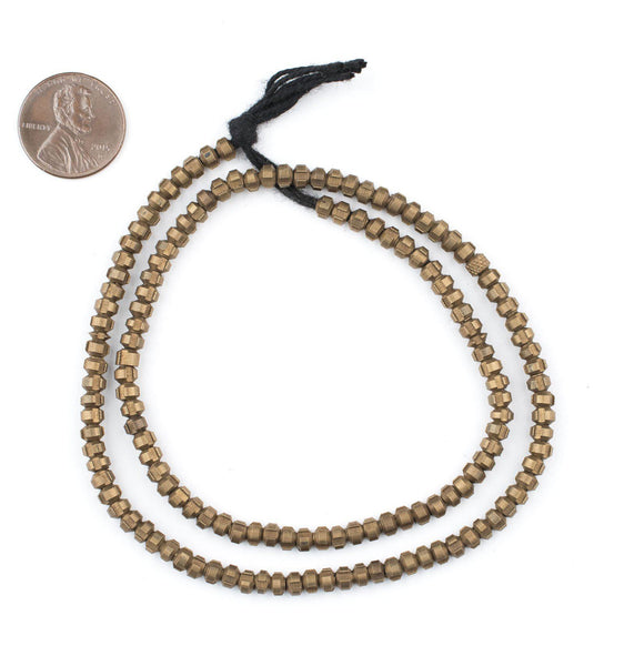 Antiqued Brass Indented Rondelle Beads (4mm)