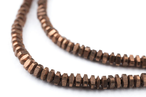 Antiqued Copper Triangle Heishi Beads (4mm) - The Bead Chest