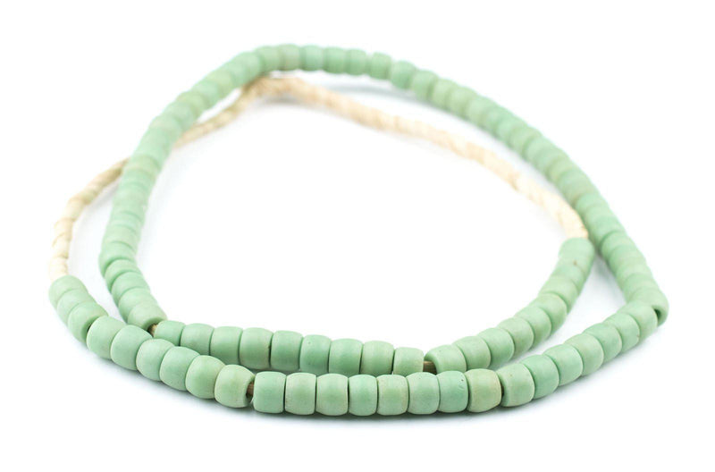 Green Padre Prosser Button Beads (9mm) (Long Strand) - The Bead Chest