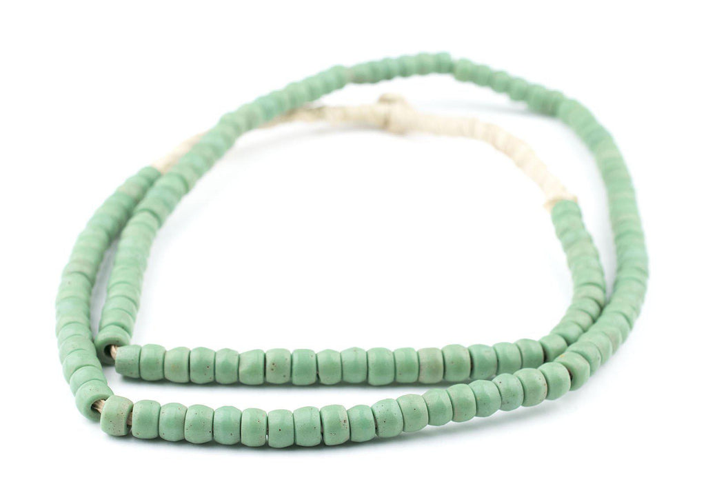 Green Prosser Button Beads (7mm) (Long Strand) - The Bead Chest