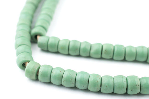Image of Green Prosser Button Beads (7mm) (Long Strand) - The Bead Chest
