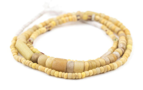 Yellow Ancient Djenne Nila Glass Beads - The Bead Chest