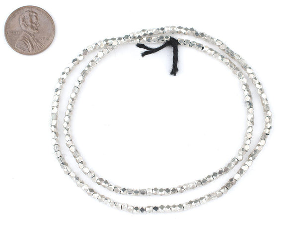 Silver Diamond Cut Beads (2.5mm)