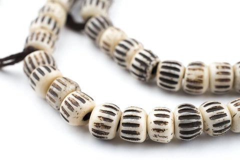 Cream Vintage-Style Carved Chevron Bone Prayer Beads (8mm) - The Bead Chest