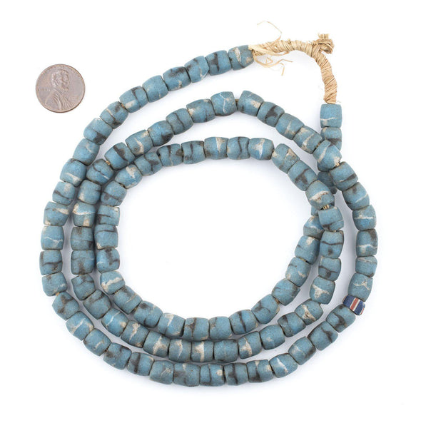 Tribal Blue Vintage Ashanti Sandcast Beads