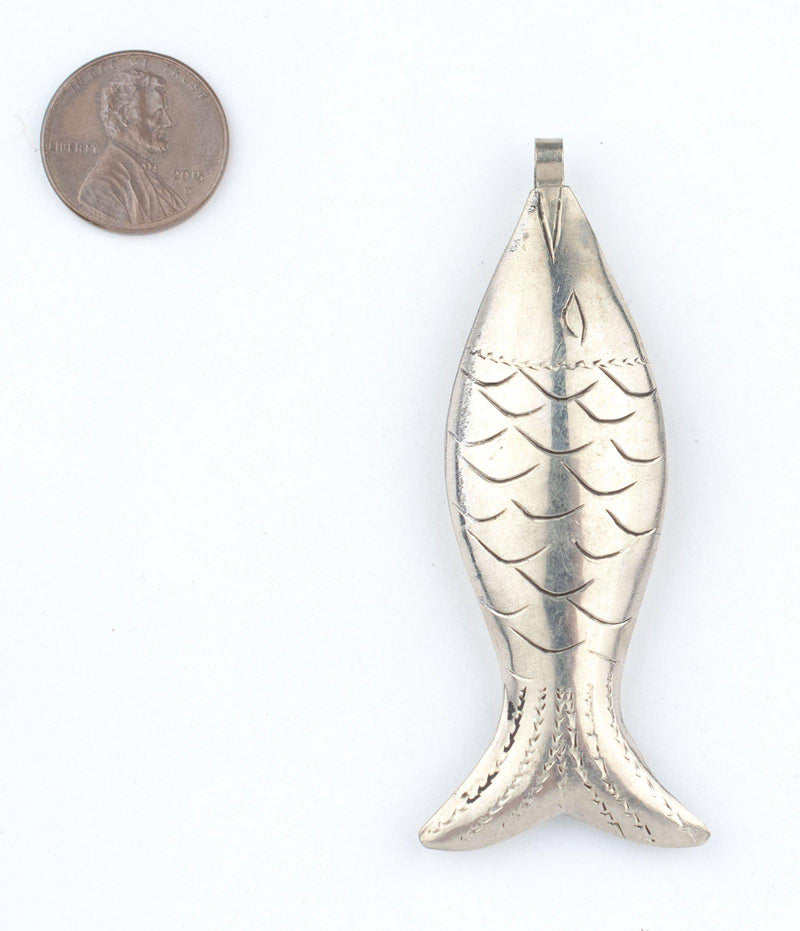 Engraved Moroccan Silver Fish Pendant - The Bead Chest