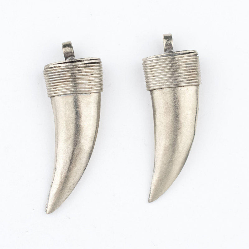 Moroccan Silver Horn Pendant (35mm) (Set of 2) - The Bead Chest