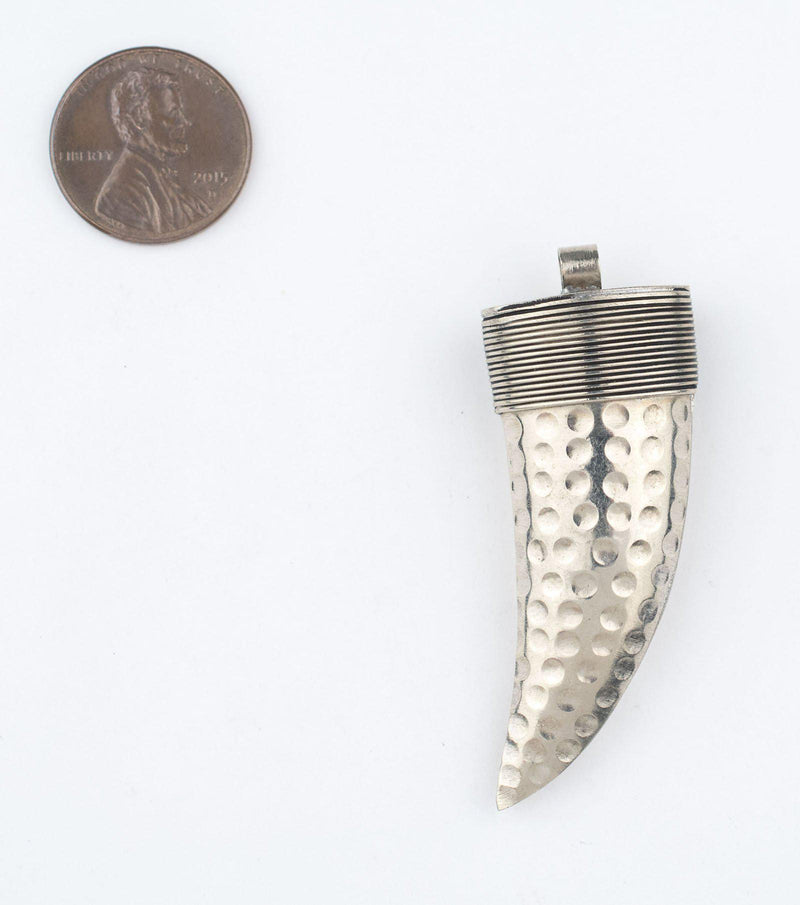 Moroccan Silver Horn Pendant (45mm) - The Bead Chest
