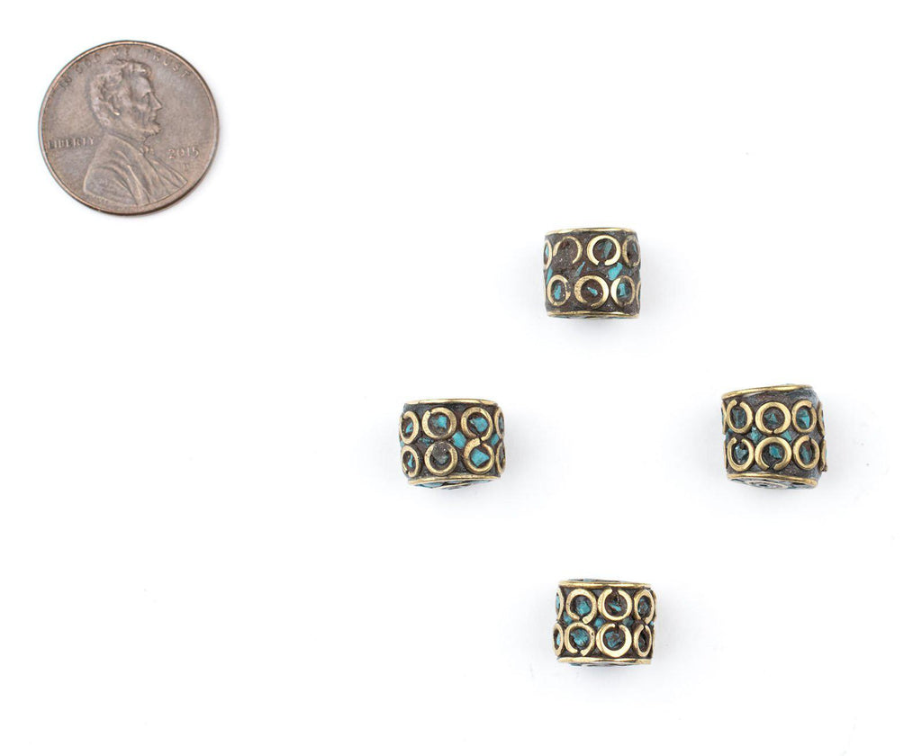 Inlaid Nepali Cylindrical Brass Beads (10mm) - The Bead Chest