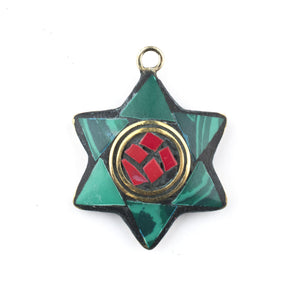 Turquoise & Red Nepal Star of David Pendant - The Bead Chest