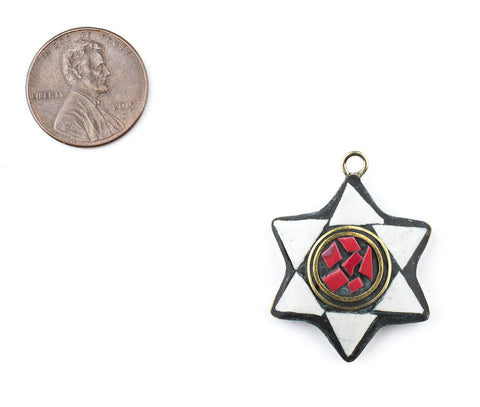 White & Red Nepal Star of David Pendant - The Bead Chest