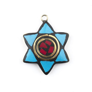 Blue & Red Nepal Star of David Pendant - The Bead Chest