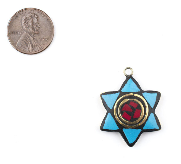 Blue & Red Nepal Star of David Pendant