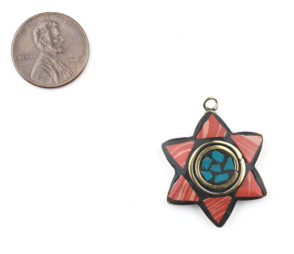 Coral & Green Nepal Star of David Pendant