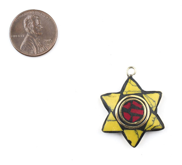 Yellow & Coral Nepal Star of David Pendant