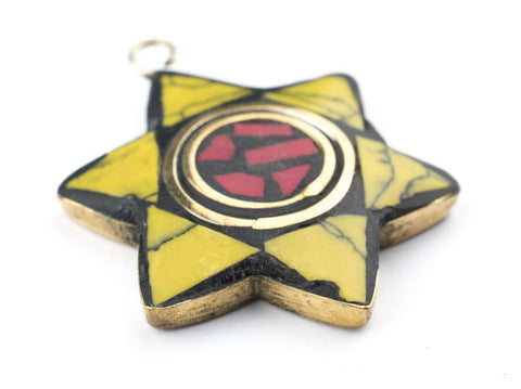 Yellow & Coral Nepal Star of David Pendant - The Bead Chest