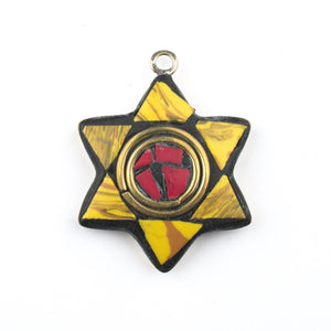 Yellow & Red Nepal Star of David Pendant - The Bead Chest