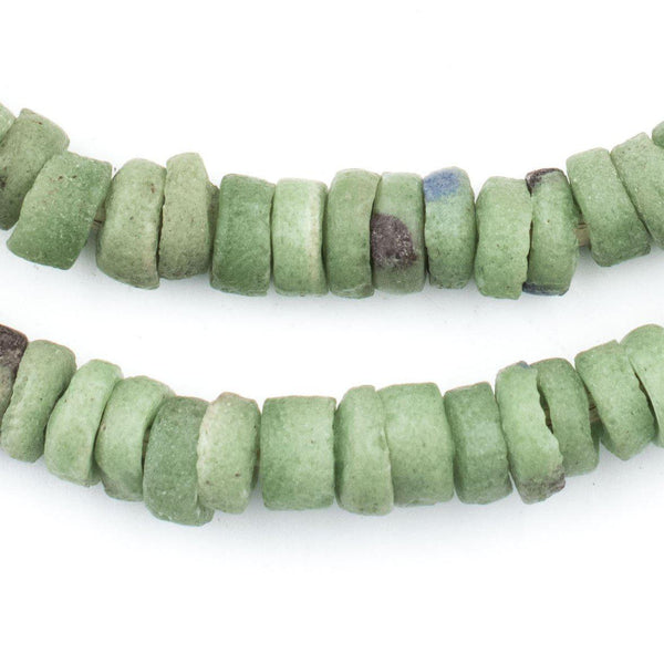 Vintage Green Sliced Sandcast Beads - The Bead Chest
