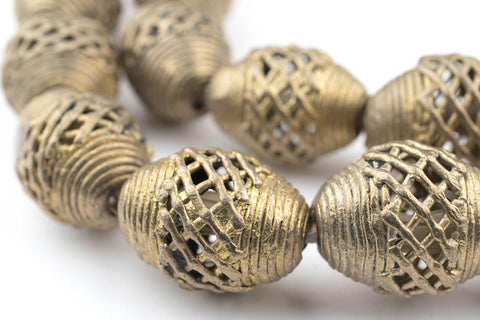 Image of Basket Design Oval Brass Filigree Beads (20x18mm) - The Bead Chest
