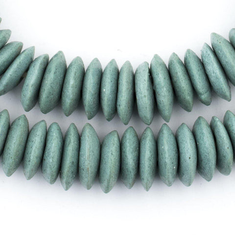 Image of Stone Green Ashanti Glass Saucer Beads - The Bead Chest