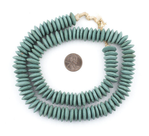 Stone Green Ashanti Glass Saucer Beads - The Bead Chest