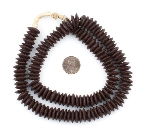 Brown Ashanti Glass Saucer Beads - The Bead Chest