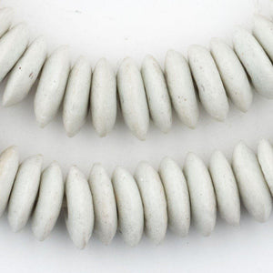 White Ashanti Glass Saucer Beads - The Bead Chest