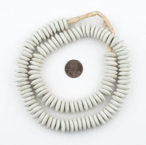 Image of White Ashanti Glass Saucer Beads - The Bead Chest