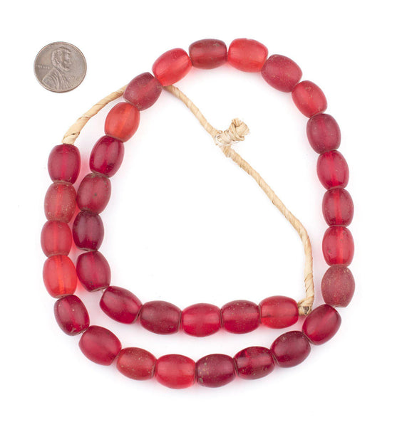 Old Bohemian Glass Red Oval Beads (14x12mm)