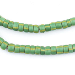 Green & Yellow Chevron Beads (7mm) - The Bead Chest