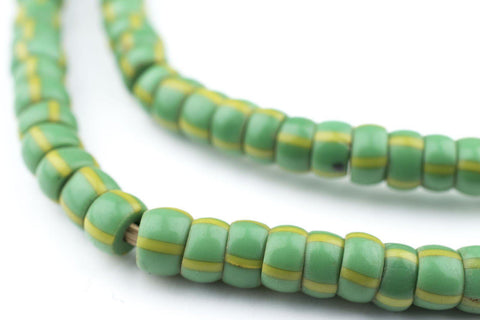 Image of Green & Yellow Chevron Beads (7mm) - The Bead Chest