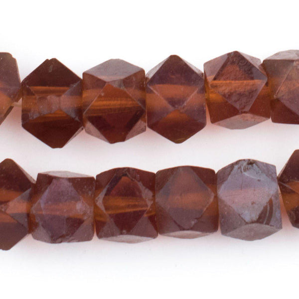 Old Dark Amber Vaseline Cube Beads - The Bead Chest