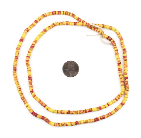 Red & Yellow Baby Kakamba Beads (4mm) - The Bead Chest