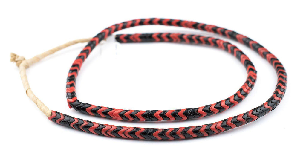 Red & Black Mixed Glass Snake Beads (6mm) - The Bead Chest