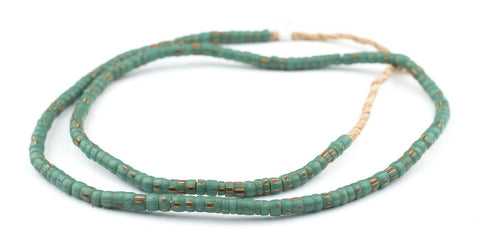 Image of Old Green Striped Cylindrical Glass Beads - The Bead Chest