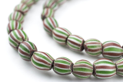 Green & Brown Round Watermelon Chevron Beads - The Bead Chest