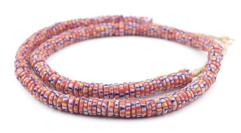 Red Chevron-Style Aja Krobo Beads (11mm) - The Bead Chest